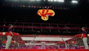 Air shot … Georgia's Luba Golovina performs during the 2012 Olympic Games.